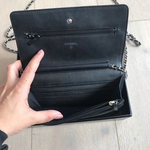 CHANEL Bags - Chanel black wallet on a chain